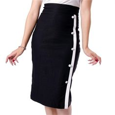 Image of Steady Clothing Black Sarina Pencil Skirt Rockabilly Retro Mod Pin Up Wiggle