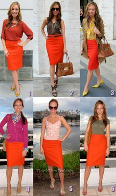 Orange pencil skirt looks.Have the skirt so need to remember this.