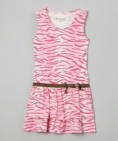 This Pink & White Camo Ribbon Dress - Girls is perfect! #zulilyfinds