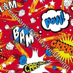 RUB622 Comic Bubble Red | Printed Lycra Fabric | Printed Fabric | Stretch Fabric | Funki Fabrics | Cartoon Print
