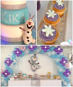 Pastel Frozen themed birthday party via Kara's Party Ideas Frozen Birthday Party, Olaf Party, Olaf Birthday, Frozen Theme Party, 4th Birthday Parties, Birthday Ideas, Frozen Disney, Anna Frozen, Frozen Decorations