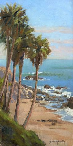 Palm Trees on the Coast by Sharon Weaver Oil ~ 16 x 8