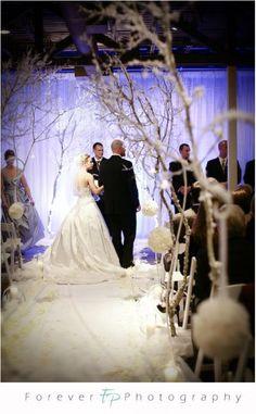 Winter Wedding Decor :  wedding winter wonderland silver ceremony reception Winter Wonderland Wedding