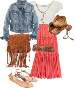 """""""Cowgirl summer outfit"""" by jessicamacguinness on Polyvore--Love the skirt!"""