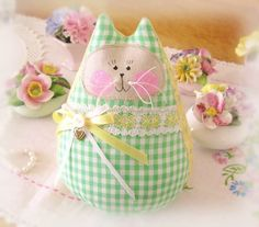 Cat  Doll 6 inch Free Standing Kitty Green by CharlotteStyle