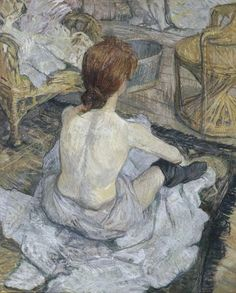 Toulouse-Lautrec has left countless pictures of women in private moments,  often at their toilet. Here the woman fills the centre of the composition  and is ...