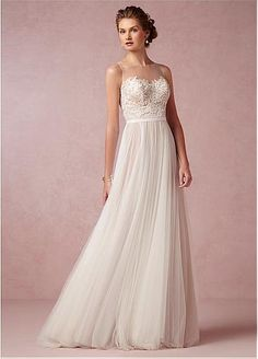 Glamorous Tulle Bateau Neckline Natural Waistline A-line Wedding Dress With Lace Appliques