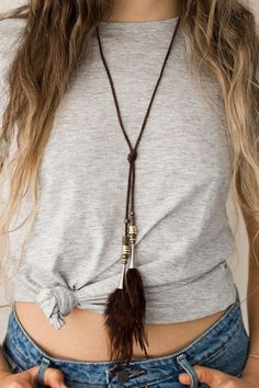 Tree of Life: Feather Lariat Choker #necklace #feathers #boho