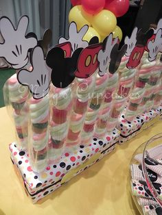 Disney Mickey Mouse Party Dessert Table Marshmallow Pops