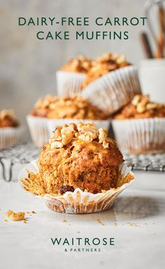 For a bitesize baking treat, try these dairy-free carrot cake muffins. Topped with a zesty orange glaze and scattered with walnuts for an extra crunch. Tap for the full Waitrose & Partners recipe. Carrot Cake Muffins, Vegan Carrot Cakes, Vegan Cake, Cupcakes, Cake Recipes, Dessert Recipes, Eggless Desserts, Vegan Recipes, Waitrose Food