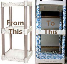 Home Ec. with Mel: Plastic Shelves Makeover Plastic Drawer Makeover, Plastic Drawers, Furniture Makeover, Diy Furniture, Plastic Storage Shelves, Storage Bins, Shelf Makeover, Contact Paper, Shelving