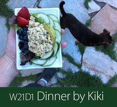 June 26th 2013 - W21D1 Dinner by Kiki - Avocado stuffed with tuna. Berries and cucumbers.
