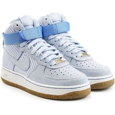 Nike Airforce 1 Suede High Top Sneakers (365 BRL) ❤ liked on Polyvore featuring shoes, sneakers, blue, blue sneakers, blue shoes, lace up sneakers, nike high tops and suede high top sneakers