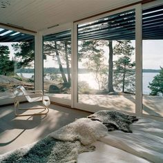 Swedish architectural dream team Tham & Videgard Hansson Arkitekter designed the modern Archipelago Home, nestled among the islands near Stockholm, Sweden. This lightweight Scandinavian summer cottage of wood and glass is largely inspired by its location Haus Am See, Decor Home Living Room, Room Decor, Decoration Inspiration, Decor Ideas, Room Ideas, Design Inspiration, Bedroom Inspiration, Daily Inspiration