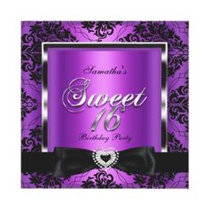 Sweet Sixteen 16 Party Purple Damask Silver Black Custom Invitation By Zizzago Birthday For Teens