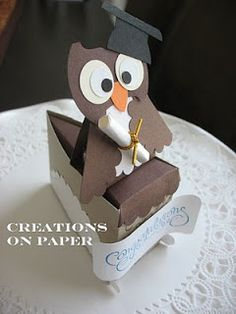 Happy Graduation to all you graduates out there! Here's my version of my Graduate Cake Slice box. The owl is too cute :) Here are the punc. Cake Slice Boxes, Box Cake, Cake Slices, Ladybug Cakes, Owl Cakes, Pie Box, Red Chocolate, Creative Box, Diy Gift Box