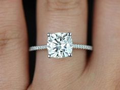 Marcelle 14kt White Gold Cushion FB Moissanite and by ...