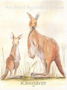 New on Etsy! Australian Animal Prints for child's room or nursery. Copies of original watercolors by Debbie Cerone. Emu, Kangaroo, Tree Kangaroo, Kookaburra Bird, Koala Bears and Quokka's - Mums & babies!