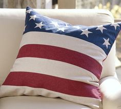 Our American flag pillow cover. #potterybarn
