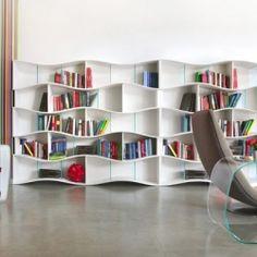 Infinite Wave Effect: Dynamic ONDA Bookcase System. #dwellinggawker