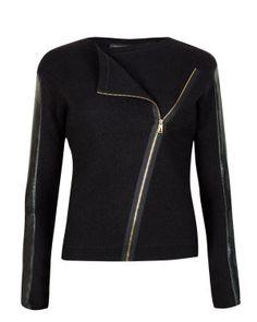 Leather sleeve biker jacket