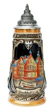 This hand-painted, relief decorated German beer stein features three panels illustrating famous landmarks from Frankfurt am Main (on the river Main).