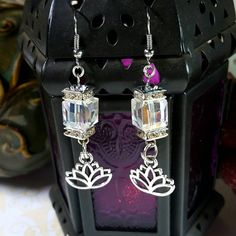 Only $6.75! - Sparkling High Shine &  Iridescent Faceted Glass Cube Beads & Silver Lotus Flower Charm Earrings with Bejeweled Silver Square Crystal Rhinestone Disks - FREE USA SHIPPING - Lotus Flower Charms / Crystal Faceted Cube Earrings / Silver Lotus Charm Earrings / Eastern Influenced Jewelry/ Under $10 Lotus Earrings https://www.etsy.com/listing/467192885/iridescent-faceted-glass-cube-beads