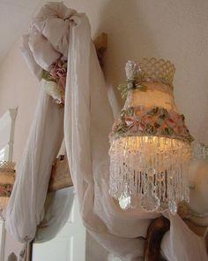 VICTORIAN Romantic Chic RibbonRose LampShade by mysilkywoods