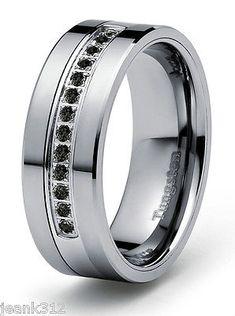 Unique mm ct Black Diamond Tungsten Modern Men us Wedding Ring Band Engagement