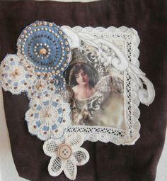 Vintage Angle  Handmade Denim Tote Bag Bible by CrossMyHeartBags
