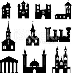 建物のシルエットセット教会や城 ロイヤリティフリーストックのベクターアート