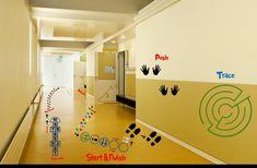 Labyrinth maze vinyl sensory path for school floors or walls/doors Sensory Wall, Sensory Activities, Sensory Boards, Sensory Tubs, Sensory Motor, Sensory Rooms, Autism Activities, Physical Activities, Sensory Pathways