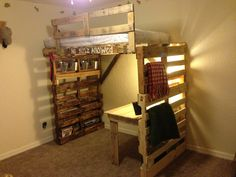 #PALLET BUNK TYPE BED AND DESK - I like the design but do not like the finish- just because it s pallet wood why leave it so ugly....just my humble opinion./   BUT hey its free and being chucked out then voila go for it