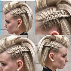 Frick'n awesome braid! diy hairstyles shorthair Frick'n awesome braid! Cool Braids, Braids For Short Hair, Cute Hairstyles For Short Hair, Braided Hairstyles, Amazing Braids, Viking Hairstyles, Side Braids, Braid Hair, Long Hair
