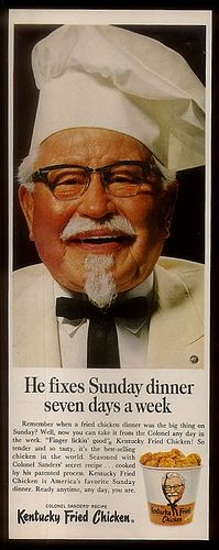 """KFC, Sunday Dinner Seven Days a Week (1967) - A slogan used by Kentucky Fried Chicken for many years, """"Sunday Dinner Seven Days a Week"""" helped define the brand as a little bit more than everyday fast food."""