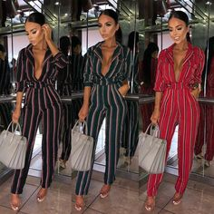 6aad1326304 Fashion Women Long Sleeve Deep V Lapel Neck Romper Stripe Print Casual  Jumpsuit