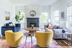 Rosedale Rockin Remodel - Christen Ales Interior Design Moroccan Wallpaper, Colored Dining Chairs, Sarah Sherman Samuel, Couch And Loveseat, Sofa, Interior Design Studio, Room Colors, Love Seat, House Design