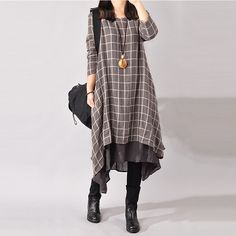 Cheap dresses korea, Buy Quality dress bloomers directly from China dress clothes for teens Suppliers: Women Vintage Casual Loose Dress 2017 Spring Autumn O Neck Long Sleeve Plaid Fake Two Piece Mid-calf Dresses Robe Vestidos