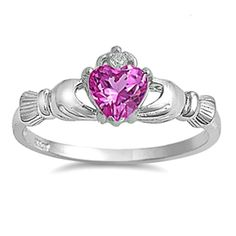 Sterling Silver Rose Pink CZ Claddagh Ring Size 4 5 6 7 8 9 10 11 12