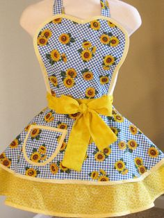 Sunflower Apron with Blue Gingham