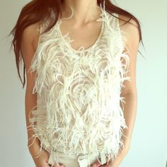 Jason Wu never worn before top Sequined, cream with soft ostrich feather embroidery.. Jason Wu Tops