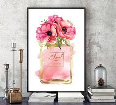 Perfume de amapolas rojo pared impresión de arte impreso