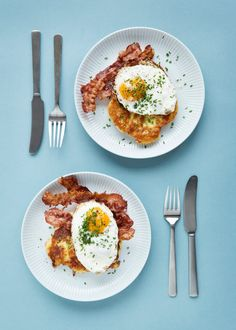 Kartoffelpandekager med bacon og spejlæg Potato Cakes, A Food, Bacon, Potatoes, Lunch, Breakfast, Morning Coffee, Potato, Lunches