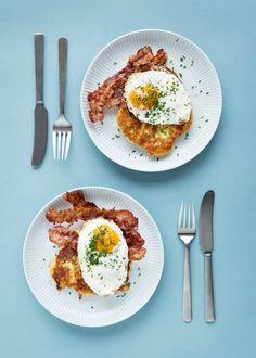Kartoffelpandekager med bacon og spejlæg -