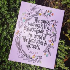 12x16 Lavender painted canvas with boho flowers and bible verse Isaiah 40:8