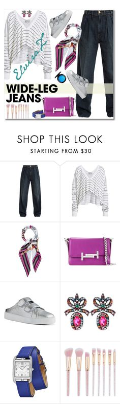 """Wide-Leg Jeans"" by elza76 ❤ liked on Polyvore featuring Frame, Wildfox, Hermès, Tod's, Nine West, Gucci, MAC Cosmetics, denimtrend and widelegjeans"