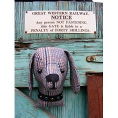 Decorators piece, fake taxidermy , shabby chic, country house, Dog trophy head. Vintage tweed. £12.50