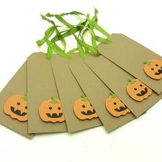 Halloween Tags  Pumpkins  6 Pack by EmbellishbyJackie on Etsy, $10.50