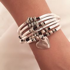 Double Love Leather Wrap Bracelet with Heart Charm – Lizzy James