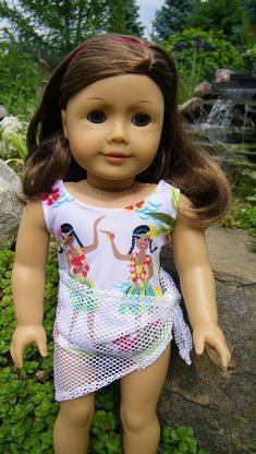 Swim suit, cover up and sarong for your American girl doll, last one. $22.00, via Etsy.